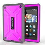 Fire HD 6 Case - Poetic Fire HD 6 Case [Revolution Series] - [Heavy Duty] [Dual Layer] Complete Protection Hybrid Case with Built-In Screen Protector for Amazon Kindle Fire HD 6 Magenta (3 Year Manufacturer Warranty From Poetic)