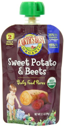 Earth'S Best Organic Baby Food Puree, Sweet Potato & Beets, 3.5 Ounce (Pack Of 12)