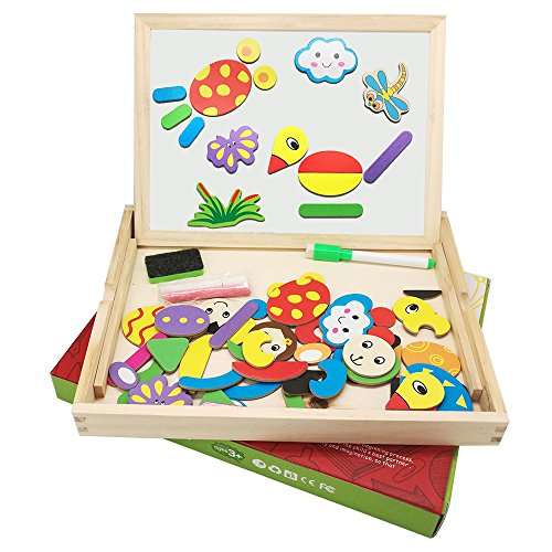 Magtimes Magnetic Board Games Double-face Drawing Board Puzzle Wooden Education Toys, Doodle Easel Multifunction Writing Drawing Toys Board for Kids Dry Erase Board Jigsaw Puzzle Games (Education Board Games compare prices)