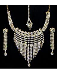 White Stone Studded Necklace, Earrings And Mang TIka - Stone And Metal
