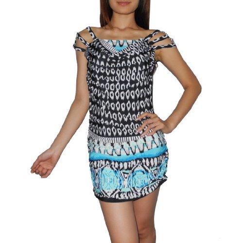Women Thai Exotic Fashion Cute Stretchy Open Shoulder Mini Dress - Size: M