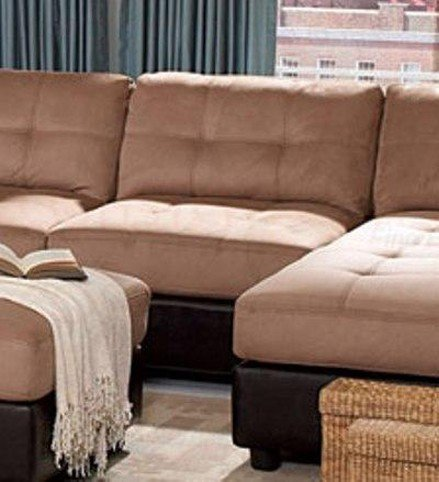 Sectional Sofa with Button Tufted Design Brown Microfiber cow genuine real leather sofa set living room sofa sectional corner sofa set home furniture couch modern 1 2 3 seater