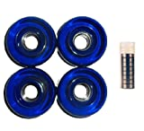 4 Blue Pro Longboard Wheels 70mm 80a Skateboard Deck W/ Abec 7 Bearings
