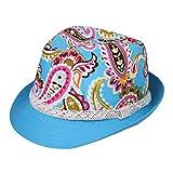 EOZY 2pcs カラフル子供用中折れ帽子 つば広ハット コットン帽子 吸汗通気 UVカット 紫外線防止 頭囲約54cm 夏お出かけ旅行通学