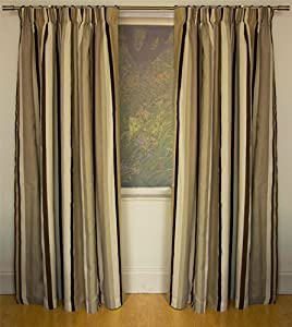 Mali Natural Cotton Blend Lined 46x72 Striped Pencil Pleat Curtains #rtsrev *hc* from Curtains
