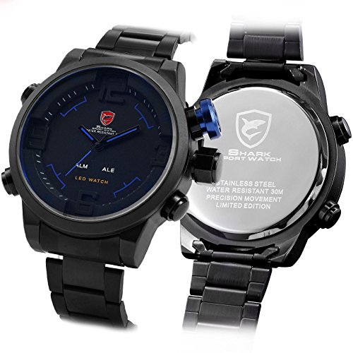 Mens 3D Shark Digital Led Date Analog Big Face Sport Alarm Quartz Wrist Watch Black Blue