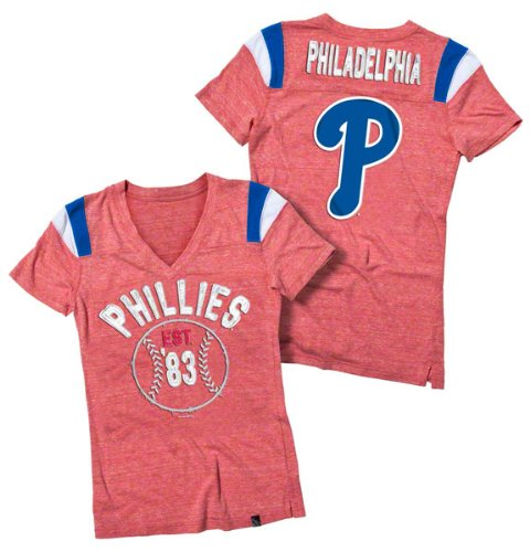 Philadelphia Phillies Red Women's Tri-Blend V-Neck Raglan T-Shirt at Amazon.com
