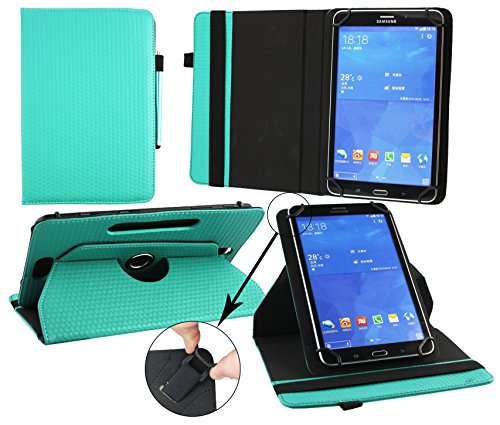 Emartbuy® Trekstor SurfTab Breeze 10.1 Pollice Tablet Universale ( 9 - 10 Pollice ) Emerald Verde 360° Rotante Folio Wallet Custodia Case Cover + Turchese Stilo