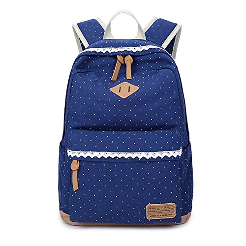 Ragazze Tela Zaino, Zaino causale leggero a pois Fashion pizzo racksack per 14Inch Laptop, essenziale quando Torna a scuola nero Deep Blue