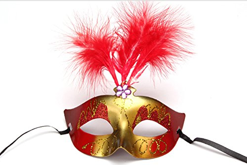 Genluna Masquerade Mask Fancy Feather Party Mask Halloween Costumes Onesize Red (Red Halloween Mask)