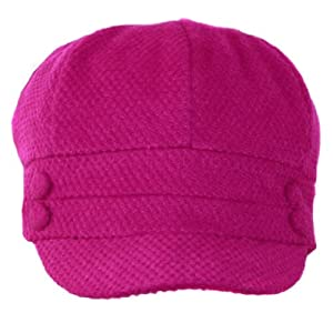 EH505BC - Womens Wool Blend Newsboy / Cabbie Winter Hat / Cap with Buttoned Detail - Fuschia/One Size
