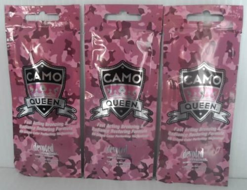 3 Packets 2014 Camo Queen Bronzer Tanning Lotion - .7 Oz. Each