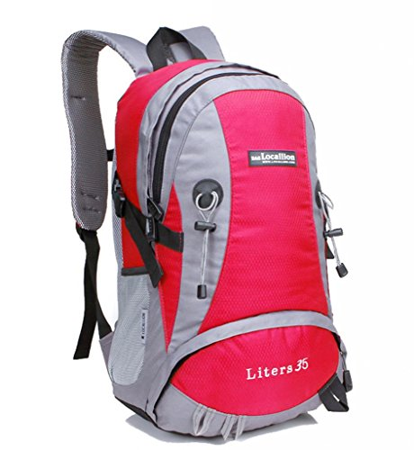 Zerd Outdoor Waterproof Nylon Mountaineering Camping Travel Backpack Trekking Bag 35L Red front-262979