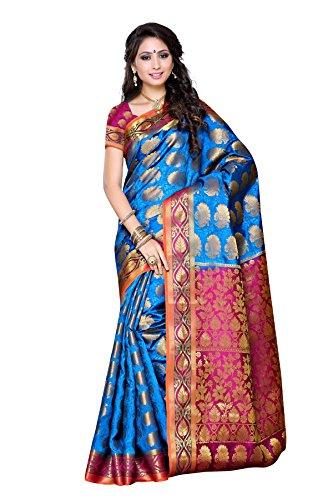 Mimosa Women's Traditional Art Silk Saree Kanjivaram Style With Blouse Color:Ananda(3310-150-ANDA-RNI )  available at amazon for Rs.1699