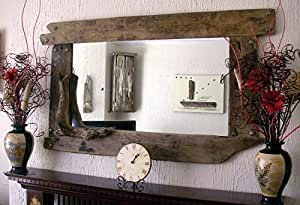 overmantel spiegel mit rahmen aus treibholz rustikal gro. Black Bedroom Furniture Sets. Home Design Ideas