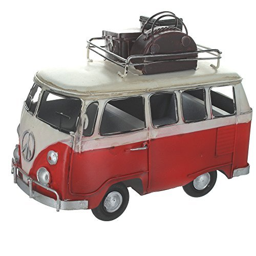 Retro Shabby Chic Camper Van With Luggage On Roof Rack - Red