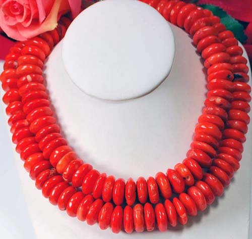 Double Strands of Peach Coral Nugget Beads Necklace 19