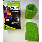 4 Wristband (2 Pair) In DARK GREEN Color Soft Sweatband For All Sport, Stretchable, Sweat Absorbent Supports Wrist...