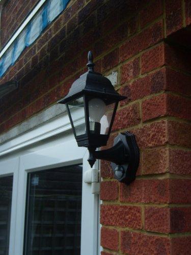 Energy saving pir floodlight black 240v 23w 2600lm : Byron elro es gls w panel wall lantern with pir