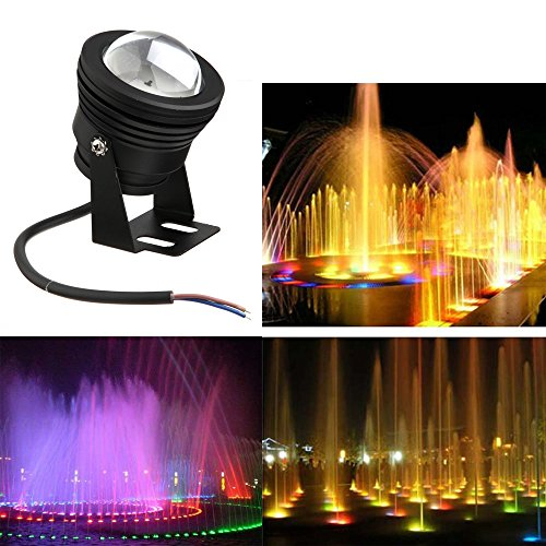 Ljy 10 Watts Dc12V Ip66 Waterproof Rgb Led Underwater Floodlight Landscape Swimming Pool Fountain Pond Lamp Bulb