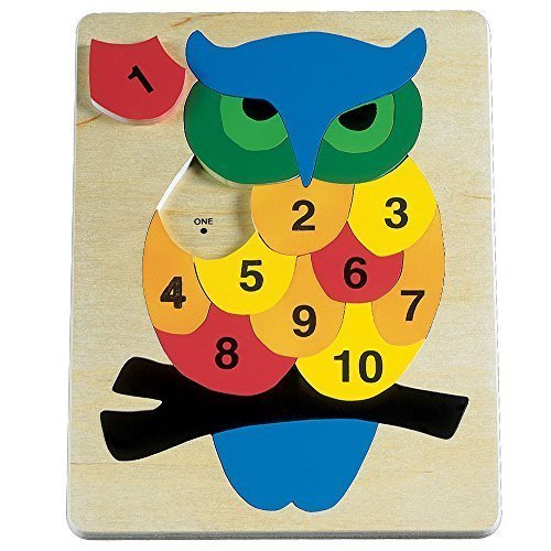 Bits and Pieces - Wooden Owl Number Puzzle - Educational - Tray Packing Puzzle