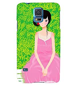 Printvisa Pink Dressed Girl On A Park Bench Back Case Cover for Samsung Galaxy S5 Mini::Samsung Galaxy S5 Mini G800F