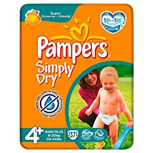 Pampers Simply Dry Size 4+ (9-20kg) Mid Pack6 x 37 per pack