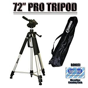 "Professional PRO 72"" Super Strong Tripod With Deluxe Soft Carrying Case For The Sony DCR-SR42, SR45, SR46, SR47, SR62, SR65, SR67, SR82, SR85, SR87, SR200, SR220, SR300, SX40, SX41, SX60 Camcorders"