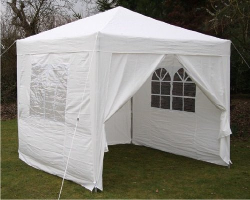 2.5x2.5mtr WHITE Pop Up Gazebo, FULLY WATERPROOF with Four Side Panels and Carrybag