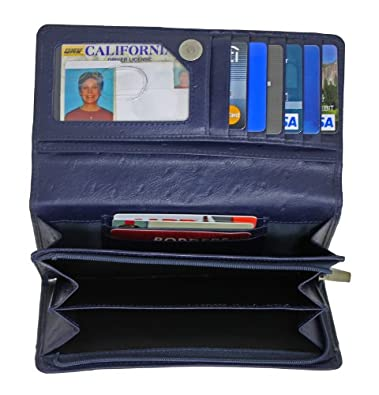 Leather Wallet Ostrich Embossed by Access Denied (Navy Blue): Shoes