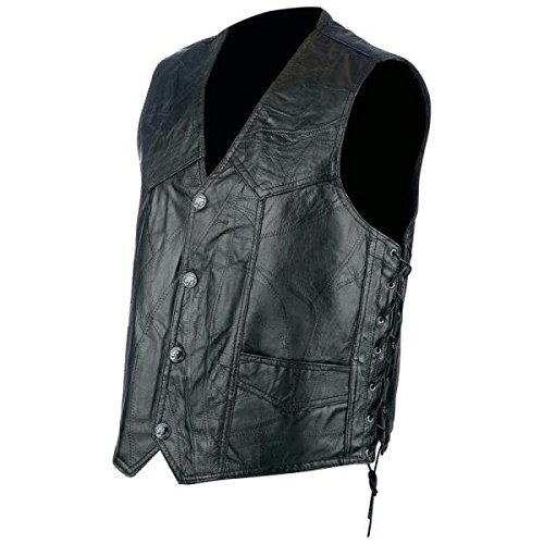 Buffalo Side Lace Leather Biker Vest. Available in four sizes.