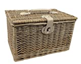 Antique Wash Wicker Chest Hamper Basket - Large