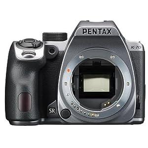 Pentax K-70 24MP FHD Digital SLR Camera Body Silver - Bundle w/32GB SDHC U3 Card, Holster Case, Spare Battery, Tripod, Cleaning Kit, Memory Wallet, Card Reader, Triple Shoe V Bracket, Software Pack
