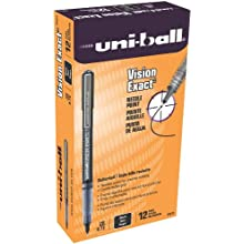 uni-ball Vision Exact Stick Fine Point Roller Ball Pens, 12 Black Ink Pens (60633)