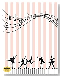 Keyboard Ballet Dancers Notebook - For the dance and music lovers! Pink and white stripes provide a gentle background as silhouettes dance across the keyboard on the cover of this blank and wide ruled notebook with blank pages on the left and lined pages on the right.