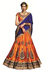 Ishin Women's Net Satin Embellished Orange & Blue Lehenga