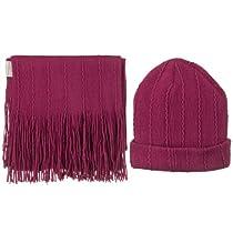 Solid Knit Beanie & Scarf Set - Fuchsia