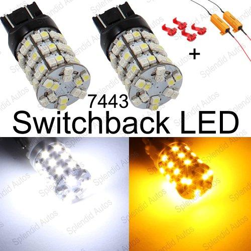 Splendid Autos 7443 7444 Switchback Led Bulbs 60-Smd For Blinker Turn Signal + Resistors (2 Pieces)