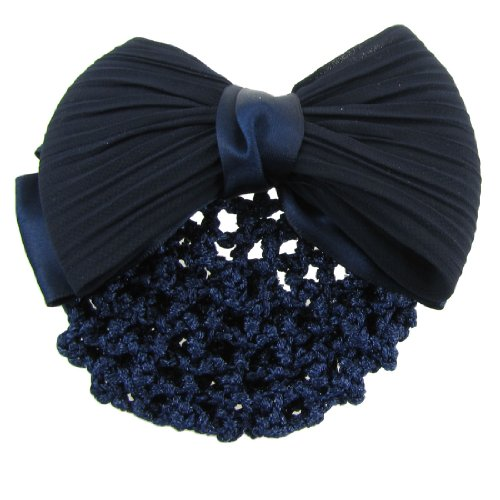 Dragonmarts Co. Ltd. / Uxcell TOOGOO Dark Blue Ruched Bowknot Snood Net Barrette Hair Clip Bun Cover for Woman
