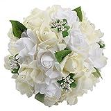 Amazon.co.jpOurwarm® ウェディングブーケ ブライダルフラワー 約23x26cm 結婚式やパーティー用 (Ivory)