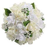 Ourwarm® ウェディングブーケ ブライダルフラワー 約23x26cm 結婚式 花嫁 披露宴 バラ 花束 (Ivory)