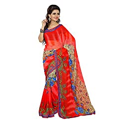 Mahadev Enterpris Women's Georgette Saree Printed Less Works Border With Unstitched Blouse Piece (Multi-Coloured , Freesize , MPJ_368 )