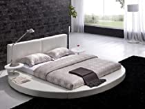 Big Sale Modern White Leather Headboard Round Bed