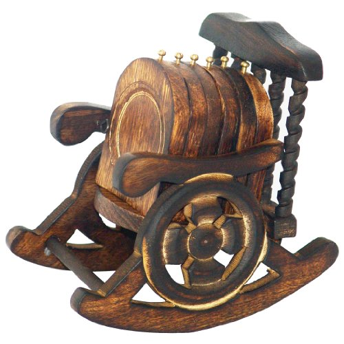 Wooden Antique Coasters Decorated in Rocking Chair Stand Set of 6 Pcs