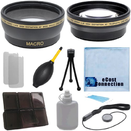 Pro Series 52Mm 0.43X Wide Angle Lens + 2.2X Telephoto Lens With Deluxe Lens Accessories Kit For Nikon 55-200Mm F/4-5.6G Ed Af-S Dx Autofocus Lens, Nikon Af Nikkor 20Mm F/2.8D Lens, And Nikon Af-S Dx Micro Nikkor 85Mm F/3.5G Ed Vr Lens