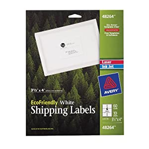 Avery  Labels for Laser and Ink Jet Printers, 3.33 x 4 Inches, White, Pack of 60 (48264)
