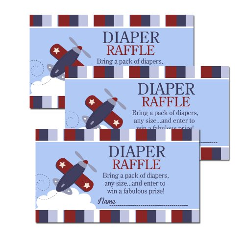 Zooming Along Airplane Blue/Red Baby Shower Diaper Raffle Tickets 20-pack