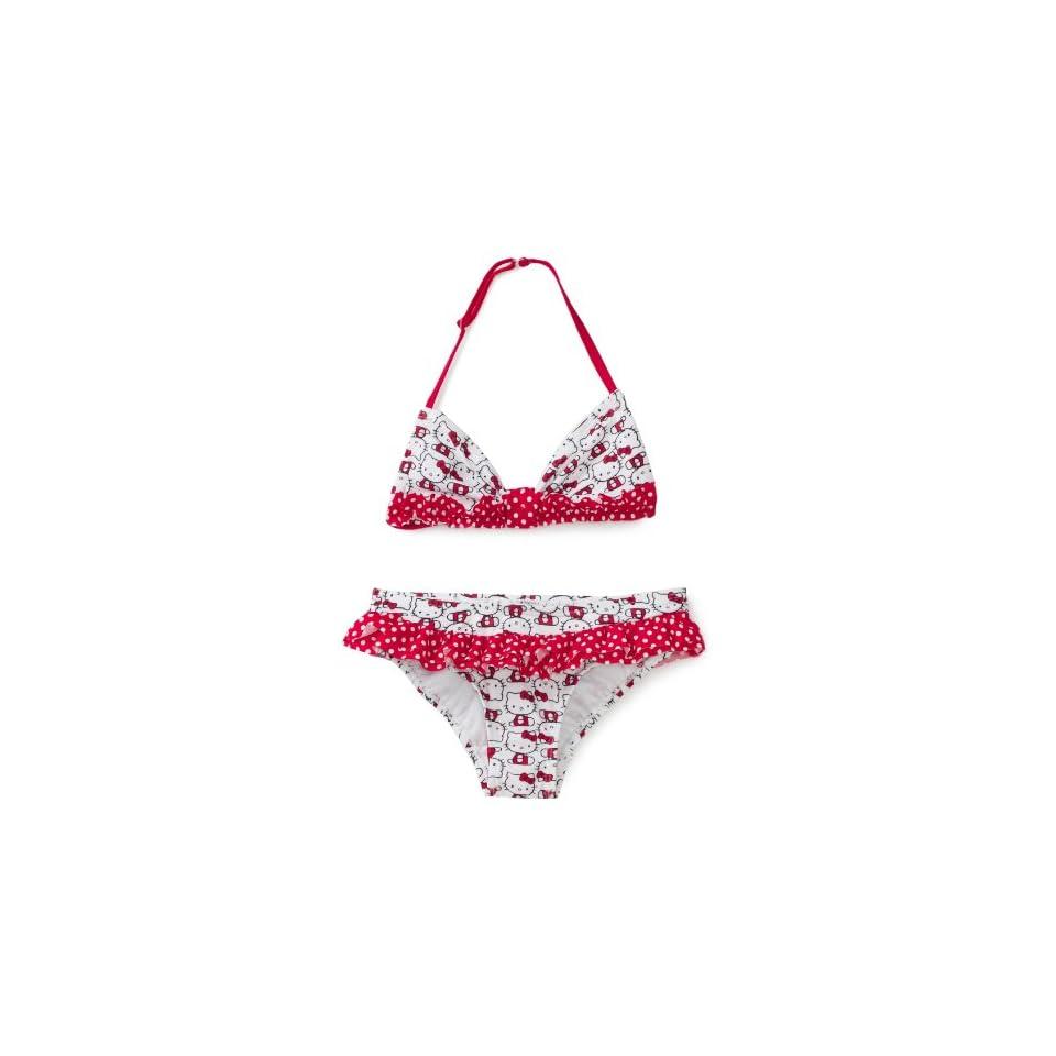 Hello Kitty Girls 7 16 Iconic Ruffle Bikini Set, White, 10/12