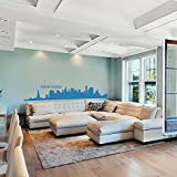 Vinyl New York Wall Decal New York City Wall Decor New York Skyline Wall Sticker Wall Mural Wall Graphic Living Room Wall Decor (X-Large,Medium Blue)