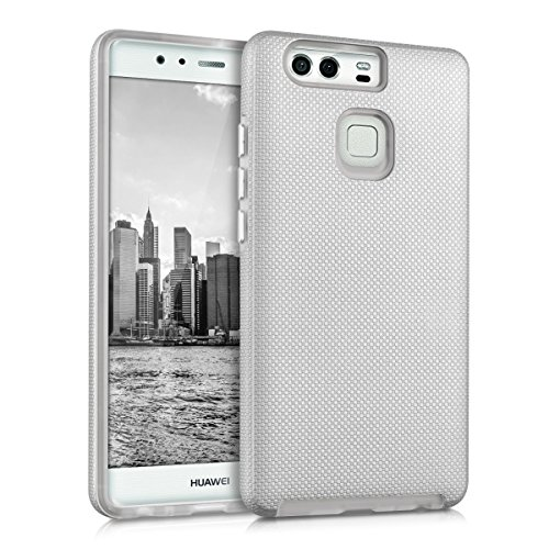 kalibri-Armor-Hlle-fr-Huawei-P9-TPU-Silikon-und-Kunststoff-Case-in-Silber